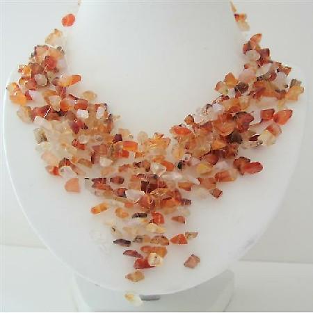 Carnelian Stone Nugget Stone Chip Multiple Drop Tassel Lovely Necklace