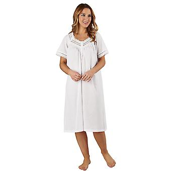 Slenderella ND3232 Women's Cotton Woven White Night Gown Loungewear Nightdress