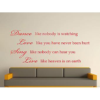 Dance Like Nobody Is Watching Wall Art Sticker - Tomato Red