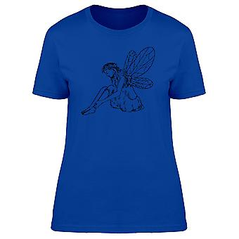 Young Fairy Sitting Silhouette Tee Women's -Image by Shutterstock