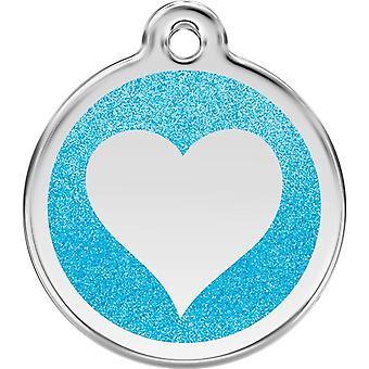 Red Dingo Pet Collar Glitter Identification Tag - Heart