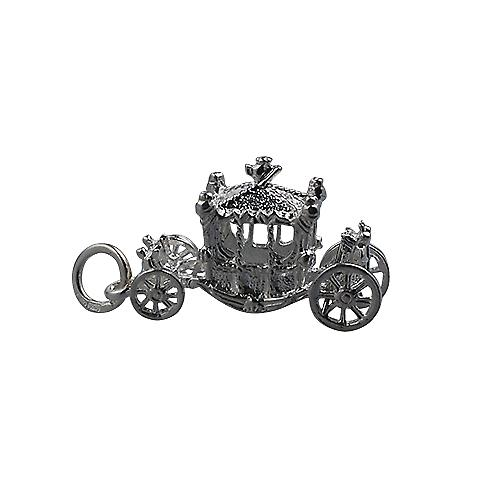 Silver 15x22mm Coronation Coach Pendant or Charm