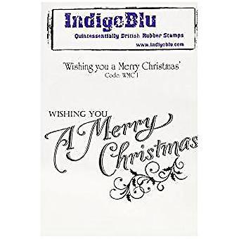 IndigoBlu Wishing You A Merry Christmas Mounted A6 Rubber Stamp (WMC I)