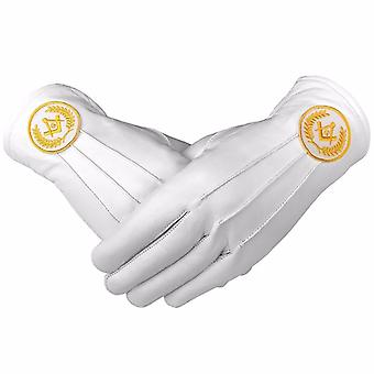 Masonic Regalia White Soft Leather Gloves Square Compass & G Yellow