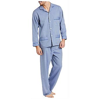 British Boxers Garrison Herringbone Cotton Pyjamas - Blue
