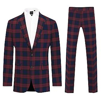 Dobell Mens Burgundy Tartan 2 Piece Suit Slim Fit Notch Lapel