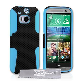 YouSave HTC One M8 Tough Mesh Combo Silicone Case - Blue-Black
