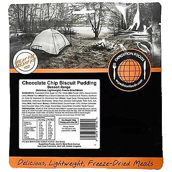 Expeditie voedingsmiddelen zwarte chocolade chip biscuit pudding
