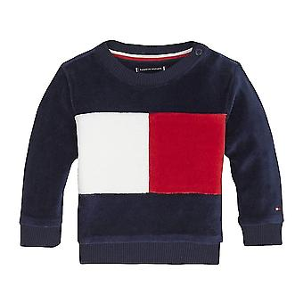 Tommy Hilfiger Boys Tommy Hilfiger Infant Boys Navy Colour-block Velour Tracksuit