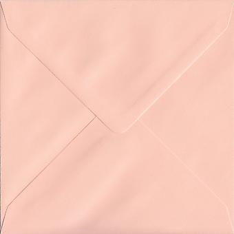 Salmon Pink Gummed 130mm Square Coloured Pink Envelopes. 100gsm FSC Sustainable Paper. 130mm x 130mm. Banker Style Envelope.