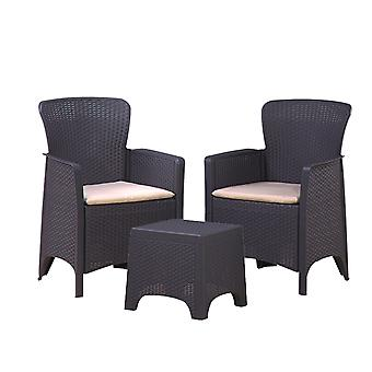 Marbella 2 Seater Rattan Balcony Outdoor Garden Furniture Set Graphite Cream