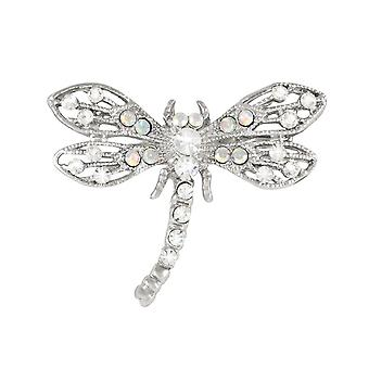 Eternal Collection Flutter AB Crystal Silver Tone Dragonfly Brooch