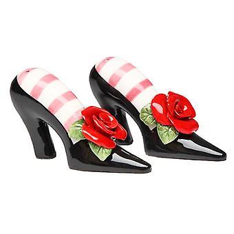 Zapatos de tacón negro rojo rosa sal y pimienta coctelera Set