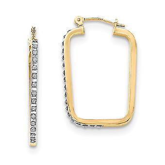 14k Yellow Gold Diamond Fascination Rectangle Hoop Earrings - .010 dwt