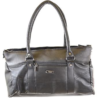 Ladies Soft Nappa Leather Handbag / Shoulder Bag with Detachable/Adjustable Strap (Black)