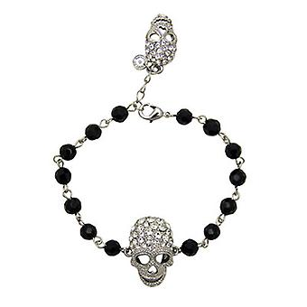 Butler  and  Wilson 2 Crystal Skull Bead Bracelet  Clear