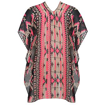 Black & Neon Pink Aztec Print Lightweight Woven Wrap
