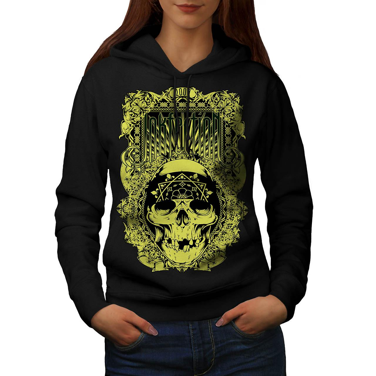 Ink Infection Tattoo Dead Pirate Women Black Hoodie | Wellcoda