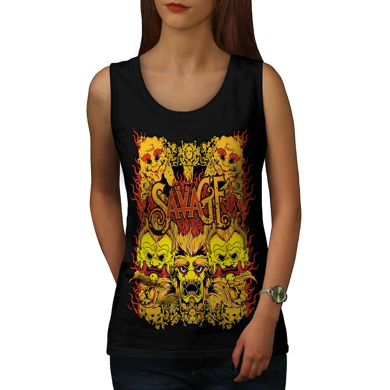 Savage Samurai Mask Asian Parade Women Black Tank Top | Wellcoda