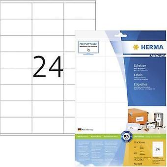 Herma 8638 Labels (A4) 70 x 36 mm Paper White 240 pc(s) Permanent All-purpose labels, Franking labels Inkjet, Laser, Cop