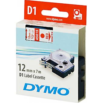DYMO D1 tapes standard 12 mm, red on white, 7 m roll (45015)