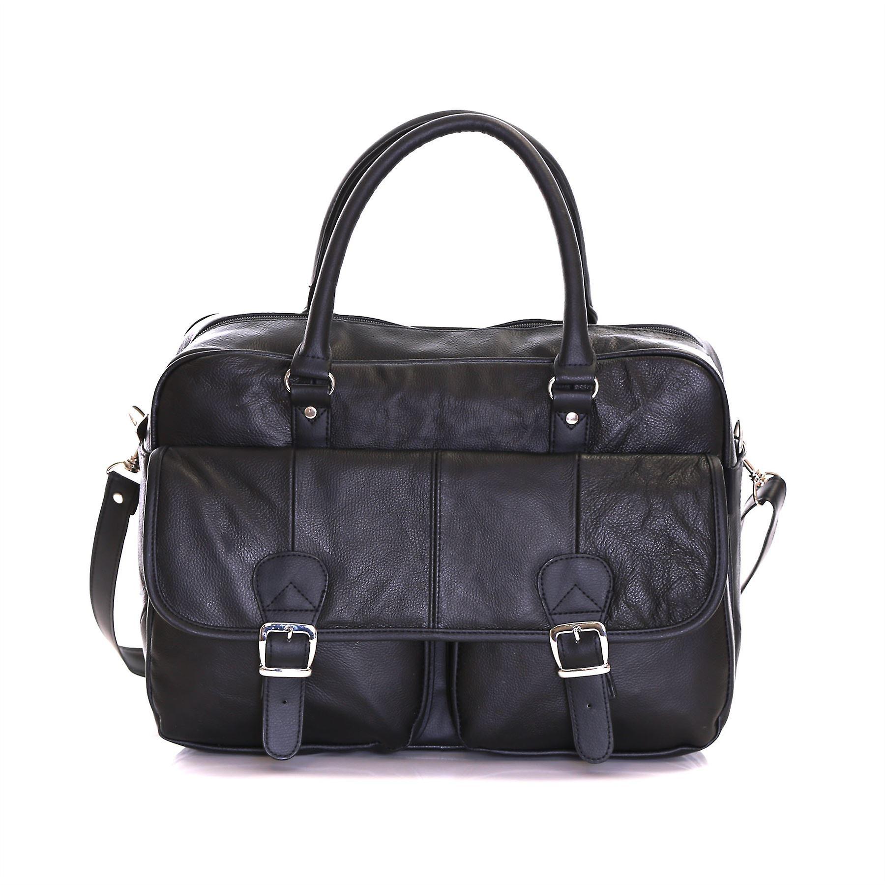 Slimbridge Essen Leather Briefcase, Black