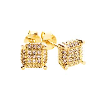 925 Silver MICRO PAVE earrings - PURE 6 mm gold