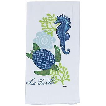 Coastal Blue and Green Sea Turtle Flour Sack Kay Dee Kitchen Towel