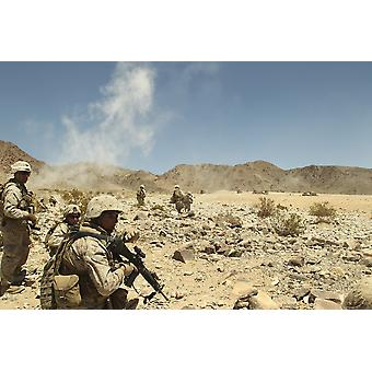 July 6 2012 - Rifleman gives his team the command to cease fire at the Marine Corps Air Ground Combat Center Twentynine Palms California Poster Print