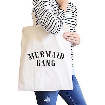 Mermaid Gang Natural Funny Saying Canvas Shoulder Bag Reusable Tote