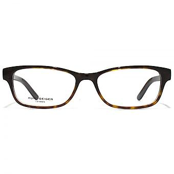 Kurt Geiger Sienna Petite Rectangular Acetate Glasses In Tortoiseshell With Navy Interior