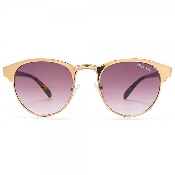 Miss KG Metal Round Preppy Sunglasses In Rose Gold