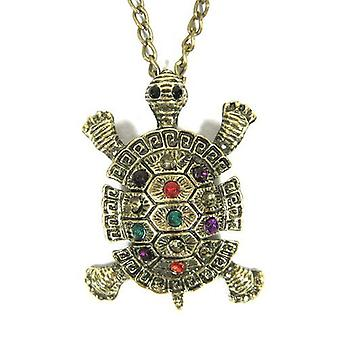 Fashion Turtle Necklace Crystal Turtle Pendant Long Necklace Animal Jewelry (includes Boolavard® jewellery box) by