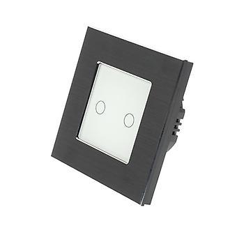 I LumoS Black Brushed Aluminium 2 Gang 1 Way Touch Dimmer LED Light Switch White Insert