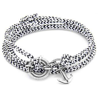Anchor and Crew Clyde Silver and Rope Bracelet - White Noir