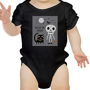 Skelet sort kat Baby Halloween Heldragt Sort gave til Baby pige
