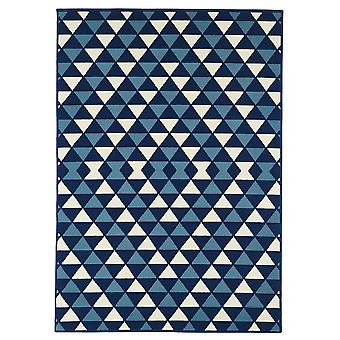 Outdoor carpet for Terrace / balcony blue white coastal living triangles Navy 160 / 230 cm carpet indoor / outdoor - for indoors and outdoors