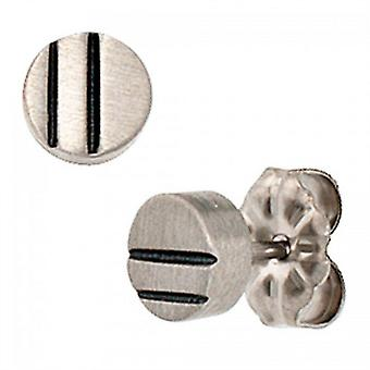 Studs titanium round few lacquer inlay earrings ear studs