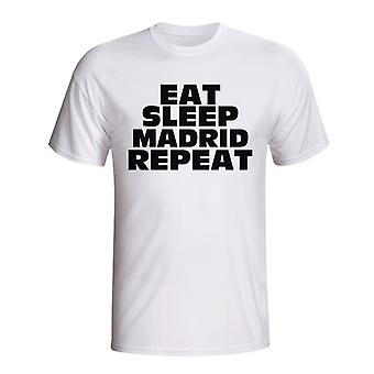 Eat Sleep Real Madrid Repeat T-shirt (white)