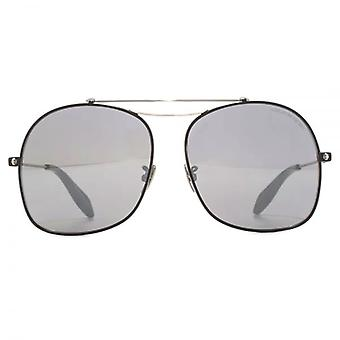Alexander McQueen Edge Square Aviator Sunglasses In Black Mirror