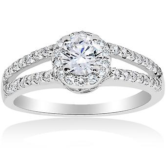 1ct Halo Split Shank Diamond Vintage Halo Engagmeent Ring 14K White Gold