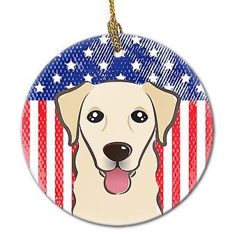 Ornement de céramique américain drapeau et Golden Retriever