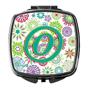 Letter O Flowers Pink Teal Green Initial Compact Mirror