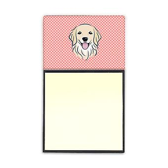 Checkerboard Pink Golden Retriever Refiillable Sticky Note Holder or Postit Note
