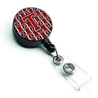 Letter T Football Red, Black and White Retractable Badge Reel