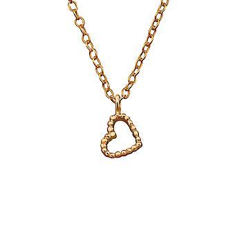 Goldenes Herz - 925 Sterlingsilber schlicht Halsketten zu öffnen