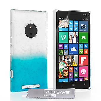 Yousave Zubehör Nokia Lumia 830 Regentropfen Hard Case - blau-Clear