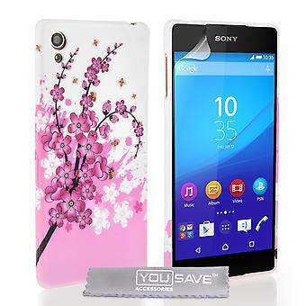 Yousave tilbehør Sony Xperia Z3 Plus Floral Bee silikone Gel sag