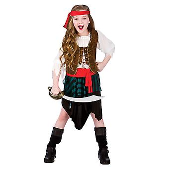 Caribbean pirat pige Childrens Fancy Dress kostume skjorte, nederdel & Bandana