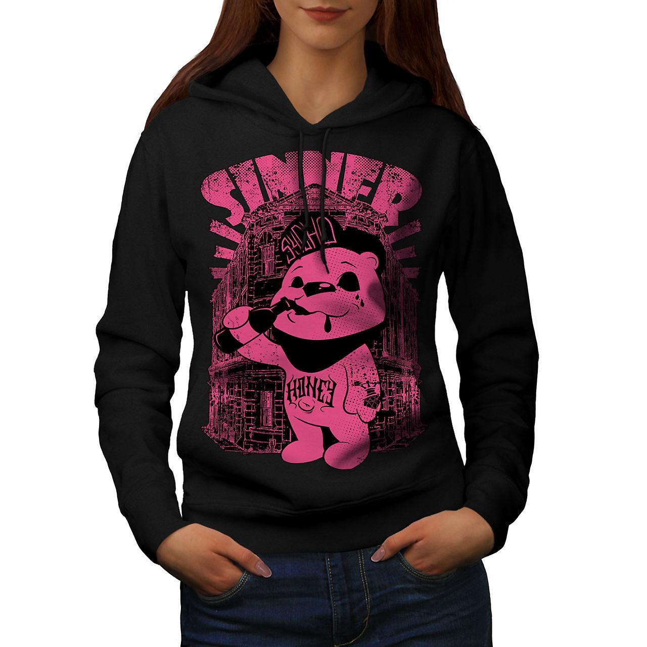 Sinner Teddy Ted Bear Women Black Hoodie | Wellcoda